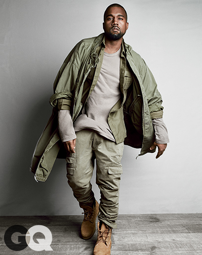 Military shirt, $1,055 by Balmain T-shirt, $55 by James Perse Pants, $575 by Michael Bastian Boots, $190 by Timberland Coat, vintage