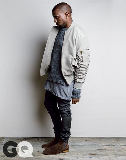 Jacket, $1,095 by Fear of God Sweater, $395 by Michael Kors T-shirt, $210 by Rochambeau Pants, $1,350 by Acne Studios Boots, $770 by Bottega Veneta
